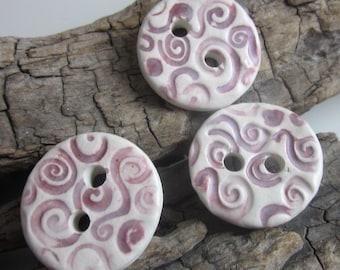 3 Medium Dark Red Spiral Texture Buttons