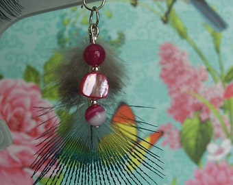 Natural blue Peacock feather, agate and Pink Pearl Earrings