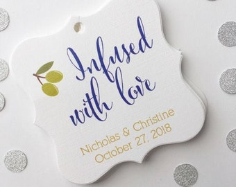 Infused With Love Tags, Olive Oil Wedding Favor Tags, Infused Love Wedding Hang Tags  (FS-083)