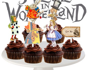 Vintage Alice in Wonderland Cupcake Toppers, Vintage Toppers, Alice in Wonderland Party, Printable, Instant Download