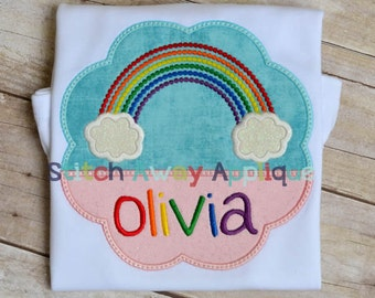 Rainbow Scallop Frame Spring Machine Applique Design