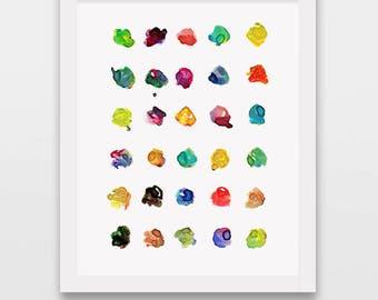 Colorful dot art, modern art, wall art print, colorful painting, dotty painting, minimalist painting, modern art