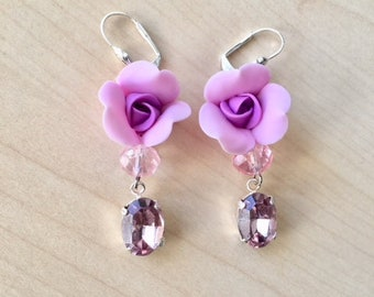 Pink Rose earrings in cold porcelain and Swarovski crystal cabochon