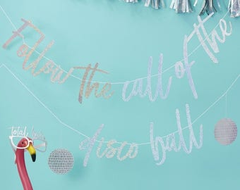 Iridescent Follow the Call of the Disco Ball Bunting, Silver Party Garland, Iridescent Banner, Birthday Banner, Hen Party Decor