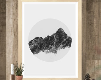 Mountain print, Black and White Photography, Printable Art, Ombre Effect, Circle Print, Minimalist Art, scandinavian print, landscape print