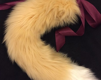 Luxury Cream Tail With White Tip Fox Wolf Kitten Play BDSM Tail Faux Fur 25 Inch
