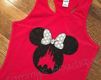 Minnie Mouse with castle girls tank! Disney tank, disney family shirts, glitter, minnie mouse tank. Personalized disney shirts