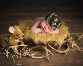 Baby Boy or Girl Military or Hunter HAT - Newborn Photo Prop - Pink Camo - Camo OR Orange - Hunting - Reborn Doll Hat