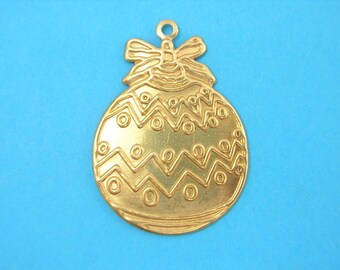 GILT METAL CHARM 1: ball Christmas 27 mm