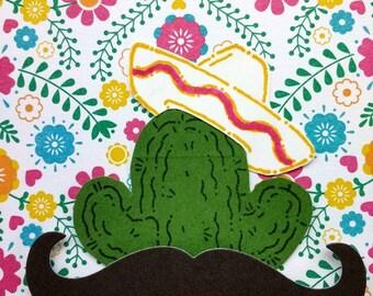 Mustache Gracias, cactus, thank you card, turquoise, fiesta
