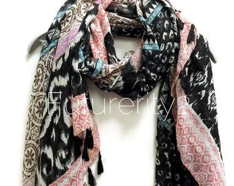Bohemian Inspired Ikat Prints With Black Tassel Spring Scarf / Summer Scarf / Women Scarves / Gifts For Her / Accessories