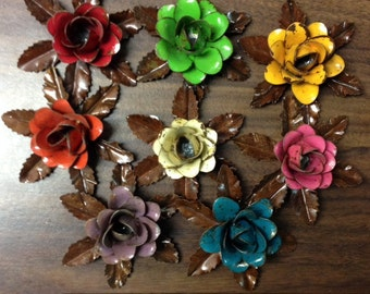 """Rustic metal rose w/ leaves - approx 3.25"""" (many colors available)"""