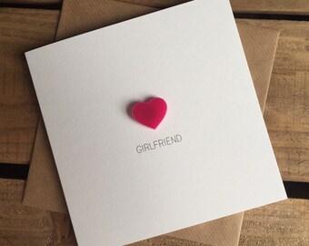 Girlfriend Card with Magnetic Love Heart Keepsake