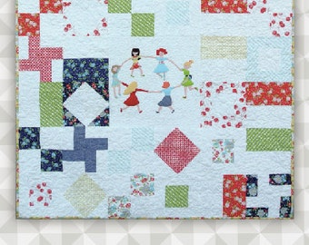 Instant Download: Pocket Full of Posies PDF Quilt Pattern Applique Embroidery Piecing. Wall Hanging Tutorial. Kids Quilt Pattern.
