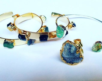 Cuff Bracelet / Minimal Cuff / Druzy / Gemstone