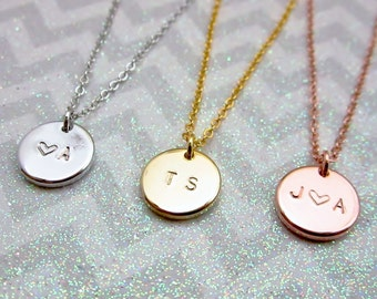 Christmas gift Personalized initial necklace Wedding gift for her Birthday gift Initial heart necklace Silver charm necklace Sister jewelry