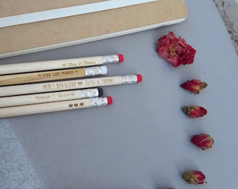 Wooden pencils with wood engraved, personalized, burn your pencil packs of 30 pencils engraved for wedding announcements, invitations