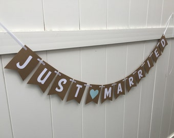 Just Married Banner- Wedding, blue heart