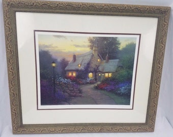 """Sergon Signed Limited Edition """"Elizabeth's Cottage"""" Lithograph Meadow Framed"""