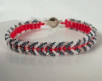 Herringbone Bracelet - Red, White, and Black