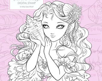PNG Digital Stamp - Whisper of the Sea - Mermaid Holding a Seashell - digistamp - Fantasy Line Art for Cards & Crafts from Aurora Wings