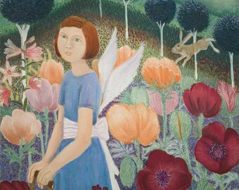 Greeting Card - Moonlit Gardener-from a Pastel by Kay Leverton
