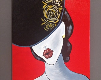 Lady painted in acrylic on canvas