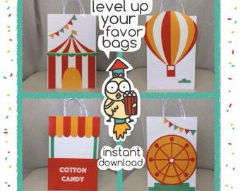 Carnival Favor Bags, Carnival Favor Box, Carnival Printables, DIY Favor Bags, Instant Download Carnival Favor Bags, Carnival Birthday Party