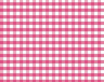 Riley Blake Medium Hot Pink Color Gingham Fabric-  1/2 yard