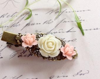 Pink and Ivory Rose Brass Alligator Clip