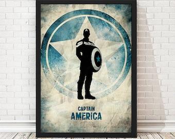 Grunge Captain America Poster, Vintage Poster, Minimalist Poster, Avengers Print