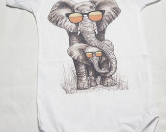 BOS-26 Momma and Baby Elephant Onesie