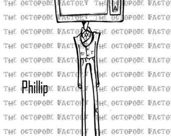 INSTANT DOWNLOAD DaDA TV Head Phillip Digital Stamp Image