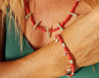 Coral style and Amazonite necklace and bracelet with silver drops
