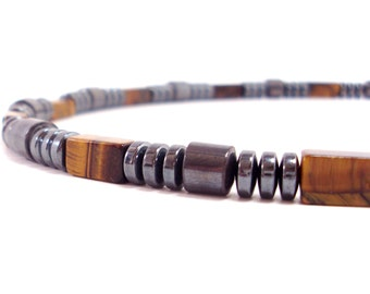 Tiger eye and Hematite,  Mens Gift ,Mens Necklace,Gift for Men, Men Gemstone Necklace, Men Choker,,+ Gift Box,Mens Beaded Necklace