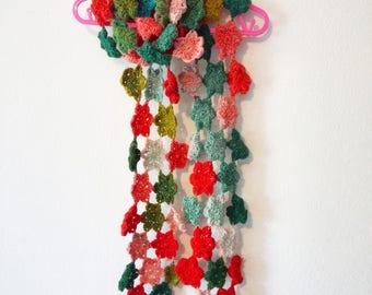 Crochet Autumn Flower Scarf