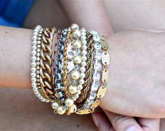 Mixed Metal Chunky Layered Bracelet, Vintage Industrial Bracelet, Gold, Rhinestone, Copper, Pearl, Gunmetal, Multi Chain Layered Bracelet