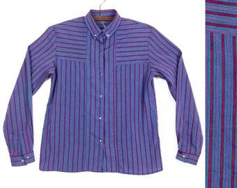 80s Striped Snap Shirt| Purple Western Gloria Vanderbilt Snap