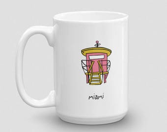 miami coffee mug. florida. south beach. sobe. tropical. ocean. jetsons lifeguard station. art deco. beach house. oceanside. alexandasher.