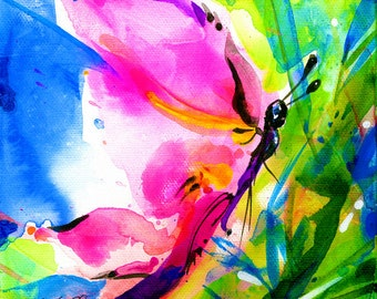"""Butterfly Watercolor - Large Canvas Art Print   from Original Pink Butterfly Painting """"Joyful Ecstasy No 8"""" by Kathy Morton Stanion  EBSQ"""