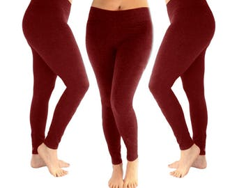 Burgundy leggings, red leggings, yoga leggings, women's leggings, maroon leggings, leggings, cotton leggings, fall leggings, fall outfit