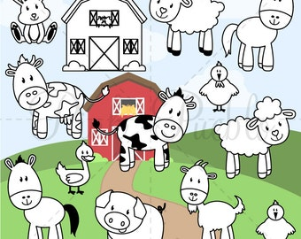 Farm Animals Digital Stamps, Farm Animals Clipart, Farm Animals Clip Art, Barnyard Clipart, Barnyard Animals - Commercial and Personal Use