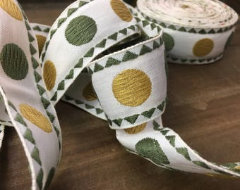 Vintage Retro Trim-Retro-Dots-Olive and Mustard
