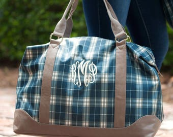Monogrammed Weekender Bag, Monogrammed Overnight Bag,  Monogrammed Weekend Tote, Charlie Dot Weekender, Plaid Luggage
