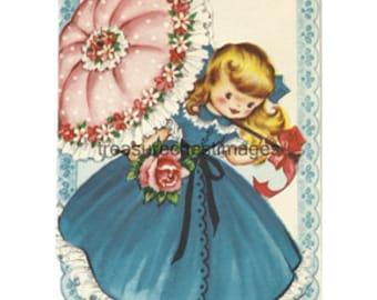 Spring Girl with Umbrella Vintage Image Instant Digital Download