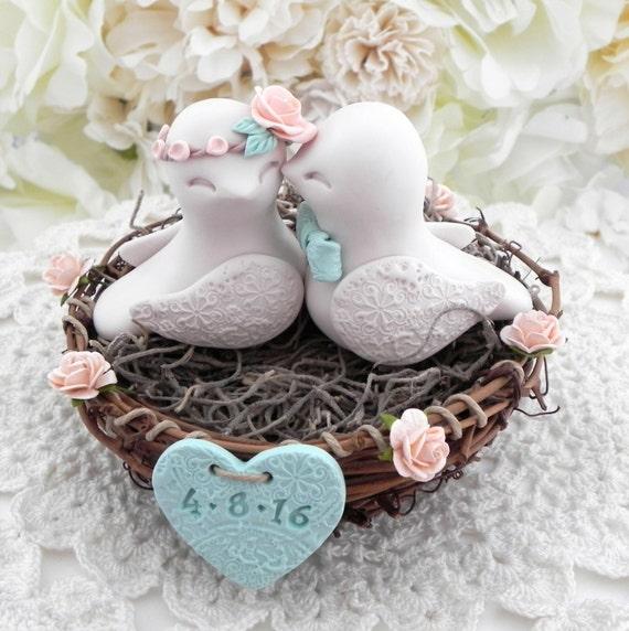 Rustic Love Bird Wedding Cake Topper - Peach, Beige and Mint Green, Love Birds in Nest - Personalized Heart
