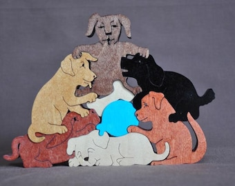 Playful Puppy Pile Dog Puzzle Wooden Toy Hand Cut with Scroll Saw