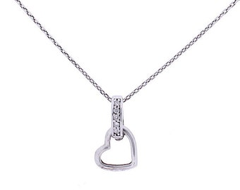 Diamond Heart Necklace, 0.025ct, Sterling Silver (925N417)