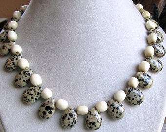 Hand Crafted Dalmatian Jasper Teardrop Beads and Bone Rounds 19 inch Necklace