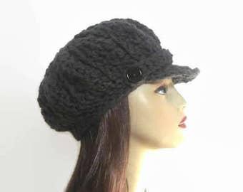 Gray Newsboy Cap Gray News boy Charcoal Cap Crochet Newsboy Dark Gray Hat with Visor Crochet Cap  with Buttons gray knit hat with Visor
